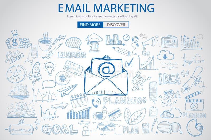 E-mail Marketing met de stijl van het Krabbelontwerp: het verzenden van visuele e-mail vector illustratie