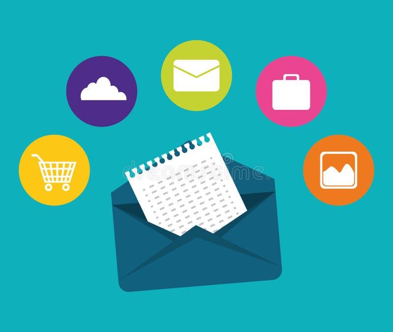 E-mail marketing ontwerp stock illustratie