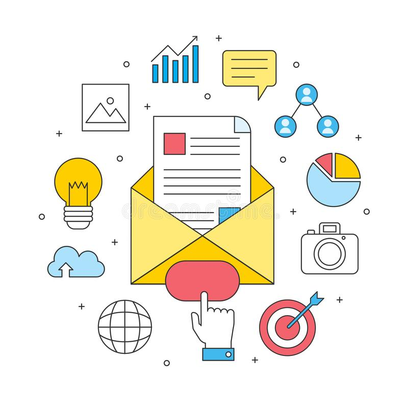 E-mail marketing reclameconcept, zaken commercieel Internet vector illustratie