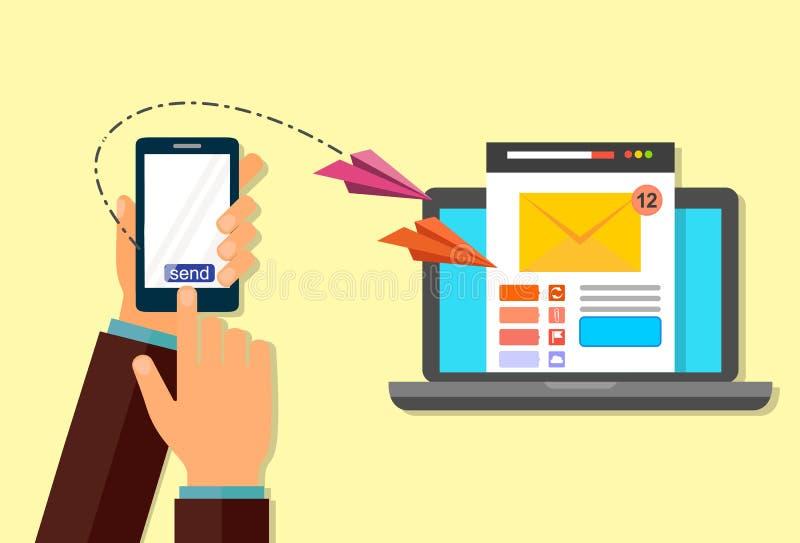 E-Mail-Marketing Schicken Sie eine E-Mail von Ihrem Telefon zu Ihrem Laptop Die Hand mit dem Telefon stock abbildung