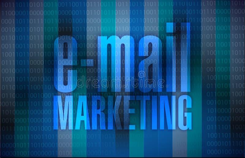 E-Mail-Marketing unterzeichnet einen vorbei binären Hintergrund lizenzfreie abbildung