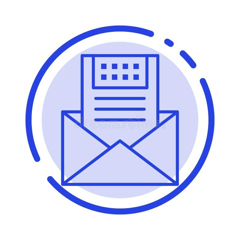 E-mail, Mededeling, E-mail, Envelop, Brief, Post, de Lijnpictogram van de Bericht Blauw Gestippelde Lijn royalty-vrije illustratie