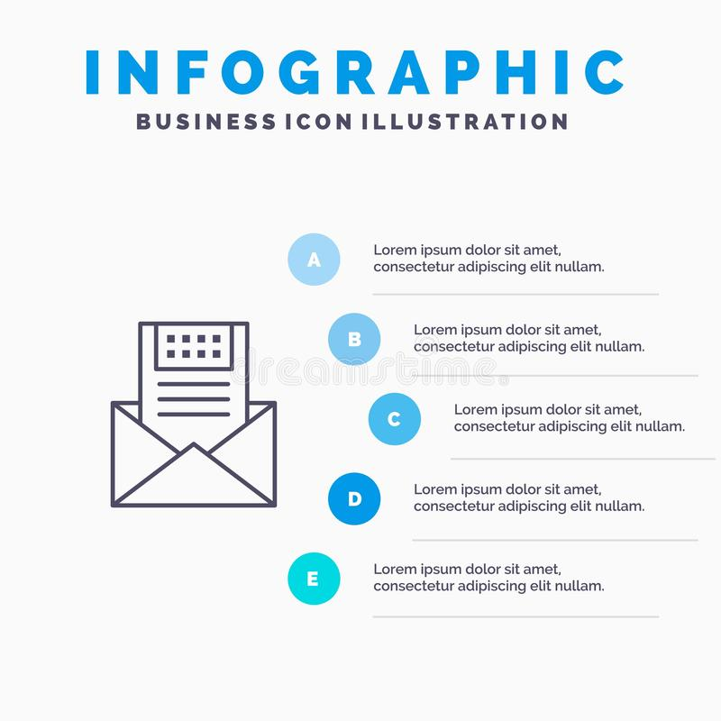 E-mail, Mededeling, E-mail, Envelop, Brief, Post, het pictogram van de Berichtlijn met infographicsachtergrond van de 5 stappenpr stock illustratie