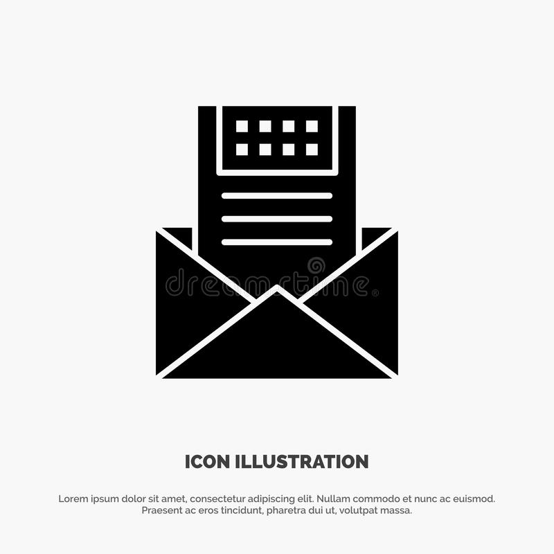 E-mail, Mededeling, E-mail, Envelop, Brief, Post, het Pictogramvector van Bericht stevige Glyph stock illustratie