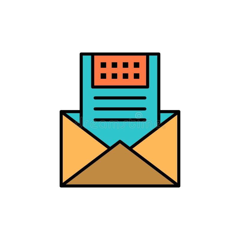 E-mail, Mededeling, E-mail, Envelop, Brief, Post, Pictogram van de Bericht het Vlakke Kleur Het vectormalplaatje van de pictogram vector illustratie