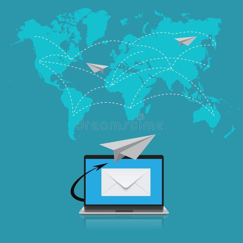 E-mail, mededeling, vectorillustratie in vlak ontwerp voor websites, Infographic-ontwerp stock illustratie