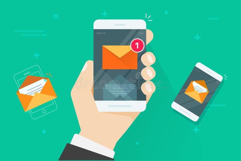 E-mail mobiele telefoonberichten vectorillustratie, vlakke beeldverhaalsmartphone met gelezen en ongelezen inboxberichten, post stock illustratie