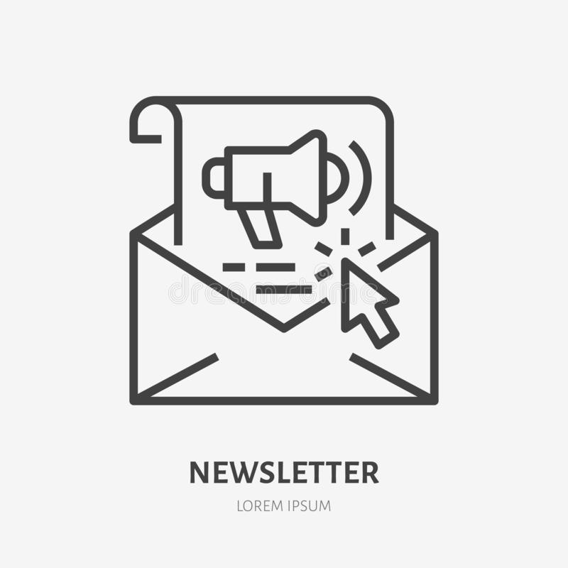 E-mail newsletter flat line icon. Copywriting, illustration of selling text for mail. Thin sign of sales letter. Copywriter logo stock illustration