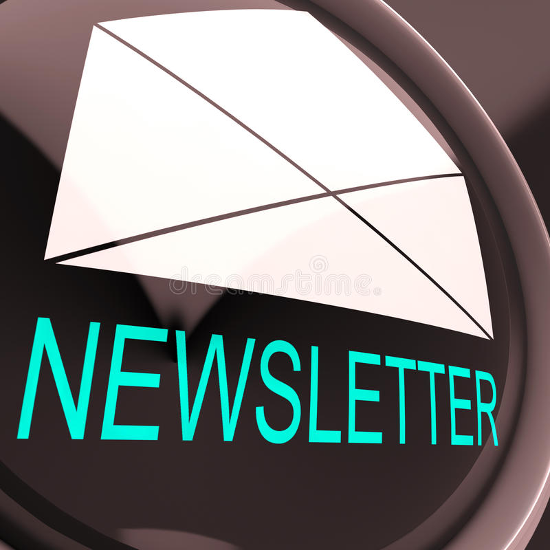 E-Mail-Newsletter zeigt das Zeichen, das elektronisch weltweit gesendet wird stock abbildung