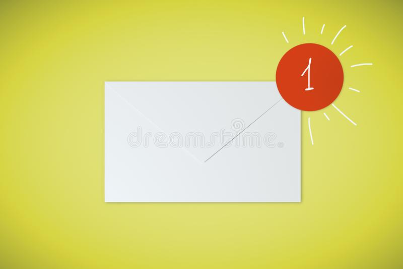 1 e-mail op gele achtergrond vector illustratie