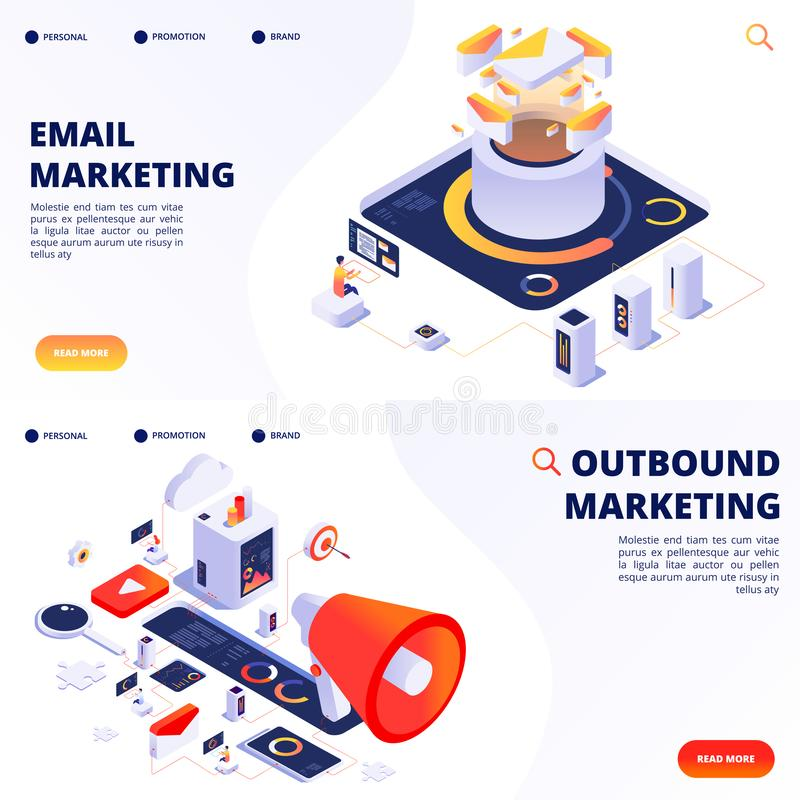 E-mail, outbound, internet marketing vector landing pages templates stock illustration