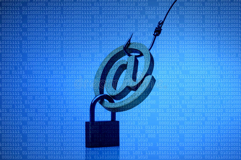 E-mail phishing aanval stock afbeelding