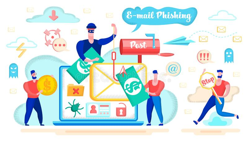 E-mail Phishing and Fraud Danger Vector Concept. E-mail Phishing, Money Fraud in Internet, Spyware Software or Application Flat Vector Concept with Rogue royalty free illustration