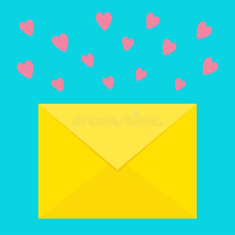 E-mail pictogram Gele document envelop Het malplaatje van de liefdebrief met roze vliegende harten Het nieuwe symbool van het ber stock illustratie