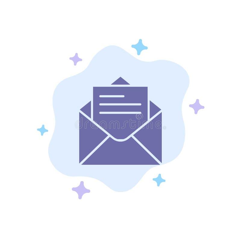 E-Mail, Post, Mitteilung, Text-blaue Ikone auf abstraktem Wolken-Hintergrund lizenzfreie abbildung