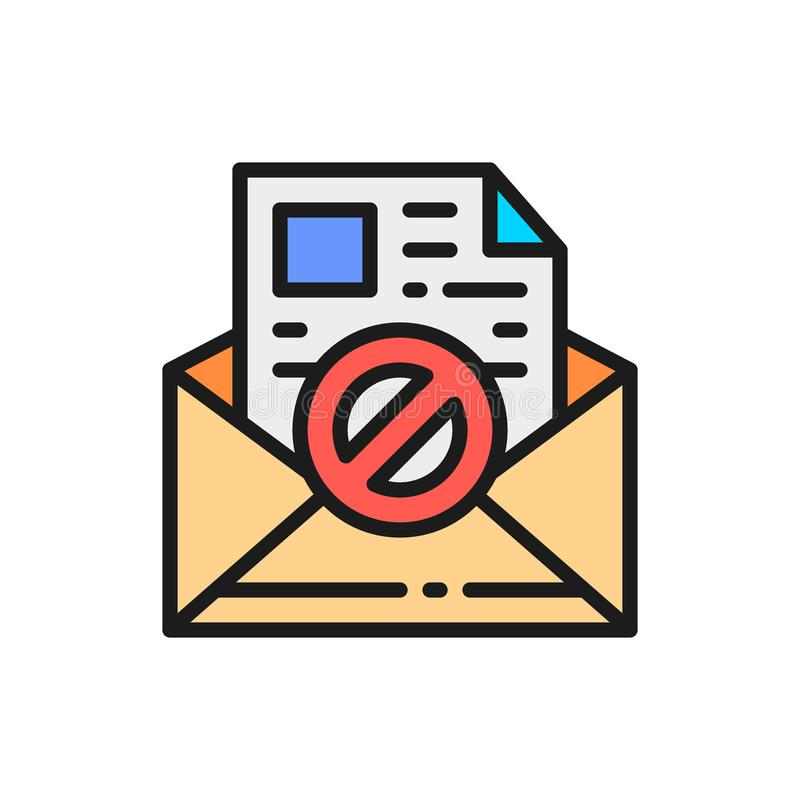 E-mail protection, anti-malware, spyware, trojan flat color line icon. Vector e-mail protection, anti-malware, spyware, trojan flat color line icon. Symbol and stock illustration