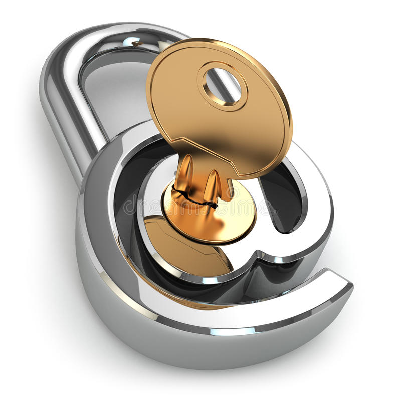 Download E-mail Protection. At As Lock And Key. Stock Illustration - Image: 38842310