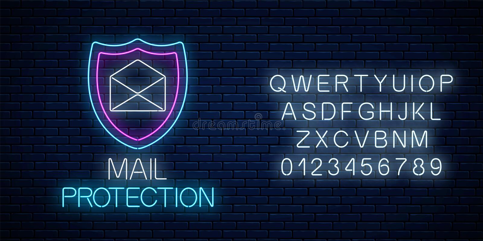 E-mail protection glowing neon sign with alphabet. Cyber security symbol with shield and open letter. E-mail protection glowing neon sign with alphabet on dark vector illustration