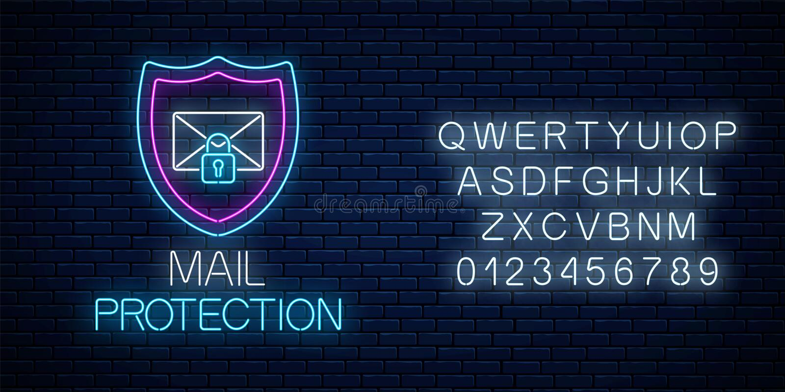 E-mail protection glowing neon sign with alphabet. Cyber security symbol with shield, letter and padlock. E-mail protection glowing neon sign with alphabet on stock illustration