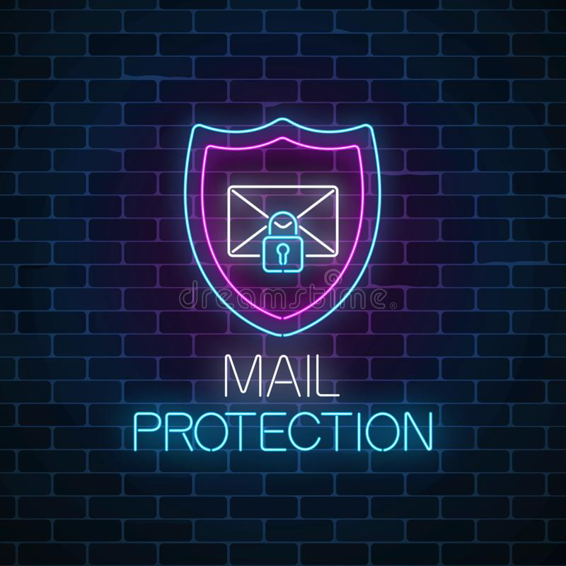 E-mail protection glowing neon sign on dark brick wall background. Cyber security symbol with shield, letter and padlock. Vector illustration royalty free illustration