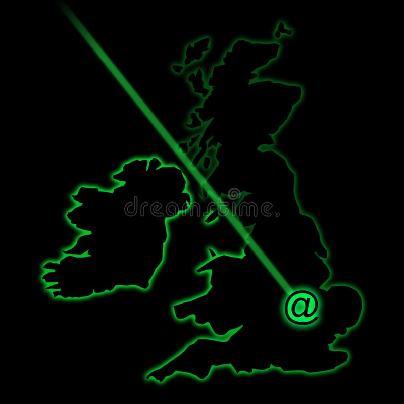 E-mail radar sweep. Simulating a radar trace of the UK with e-mail sign stock illustration