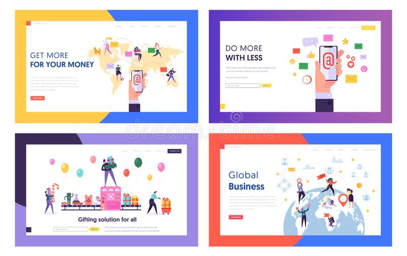 E-mail Service, Global Business, Gifts Purchasing Website Landing Page Templates Set. People Using Electronic Mail Buying Presents royalty free illustration