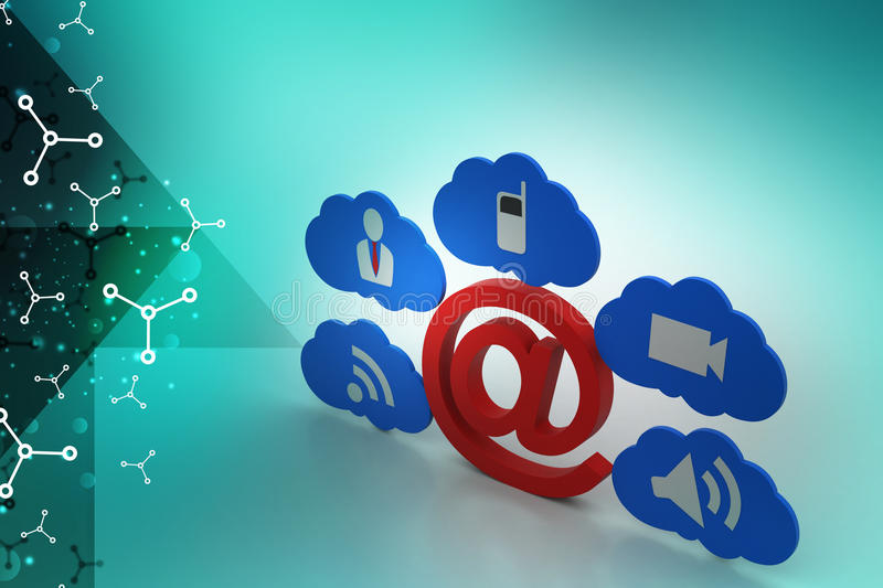 E mail sign with app icons. In color background stock illustration