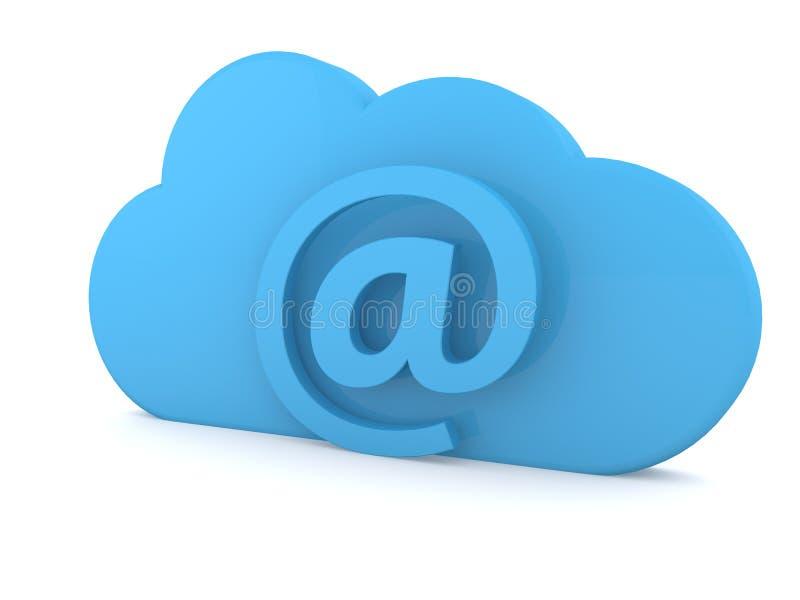E-mail sign and cloud symbol on a white background. 3d render illustration vector illustration