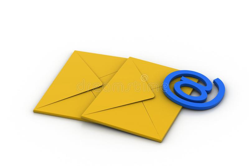 E mail sign with mail. In white background stock illustration