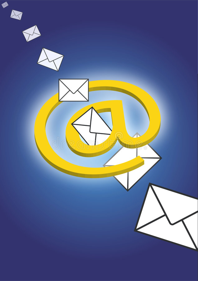 E-Mail through space vector illustration