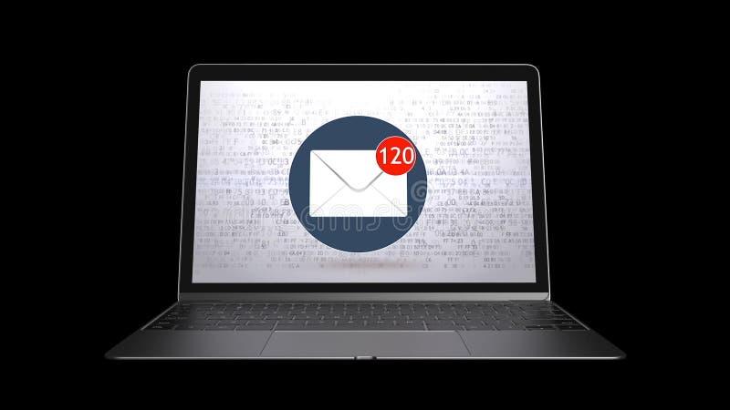 E-mail, spam Een groot aantal e-mail is geleverd stock illustratie