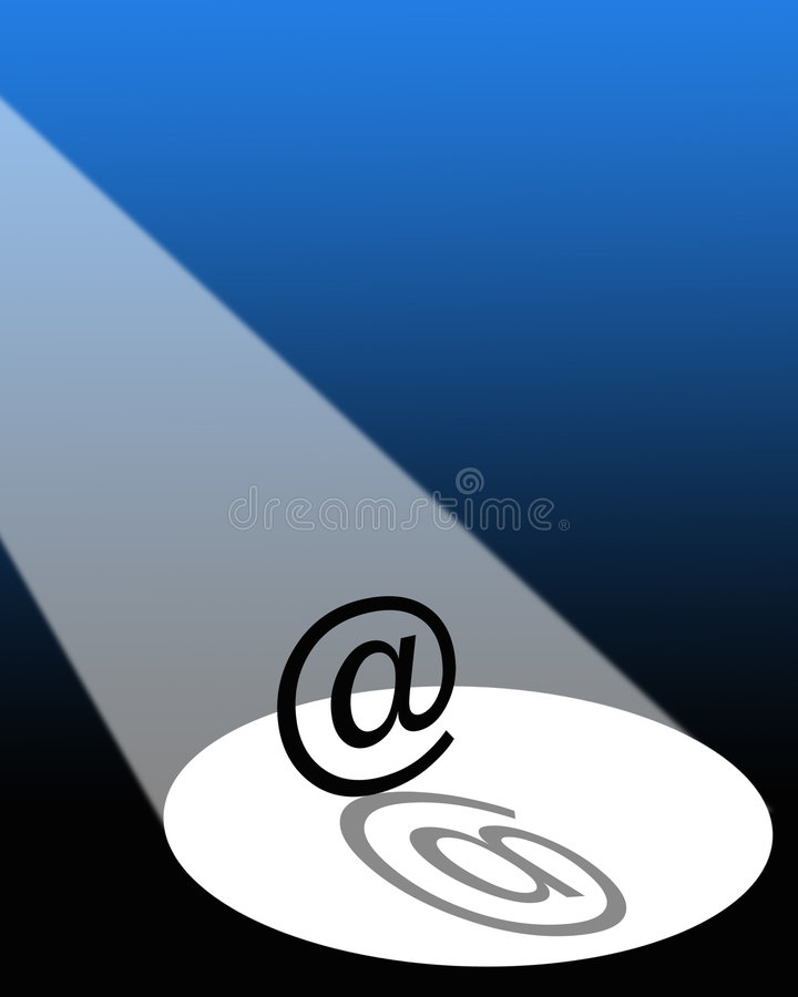 E-mail in the spotlight. Graphical illustration of e-mail sign under a spotlight vector illustration