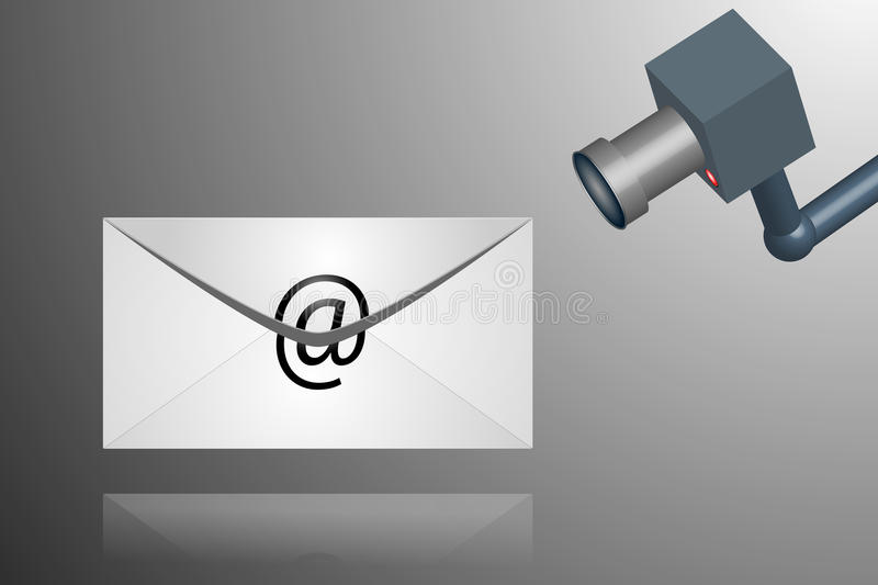 E-mail spy. Illustration of spying on emails stock photography
