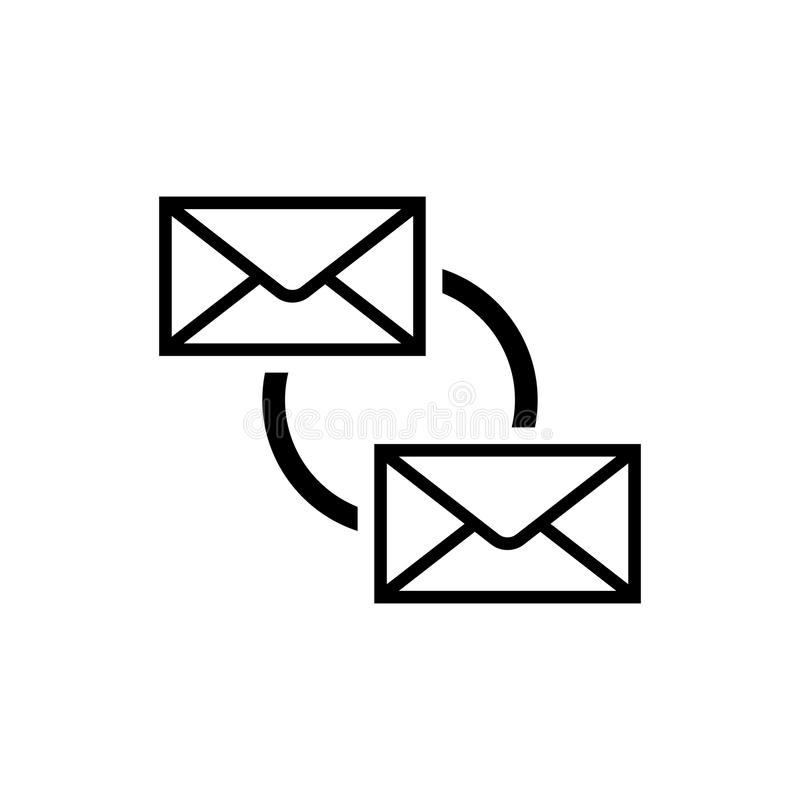 E-mail synchroniseert Pictogram E-mailsynchronisatiesymbool vector illustratie