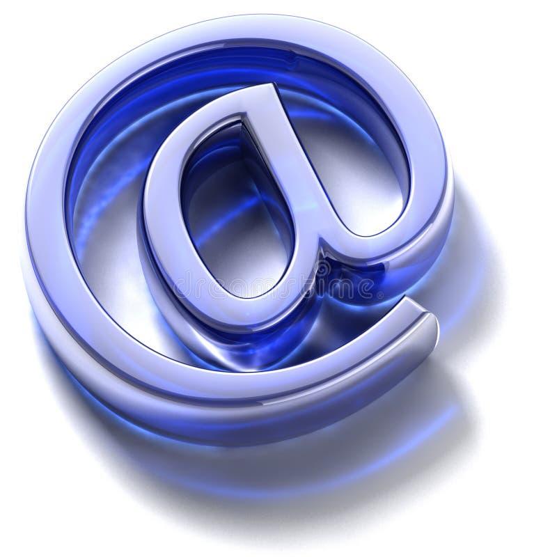 E-mail teken. Blauw glas stock illustratie