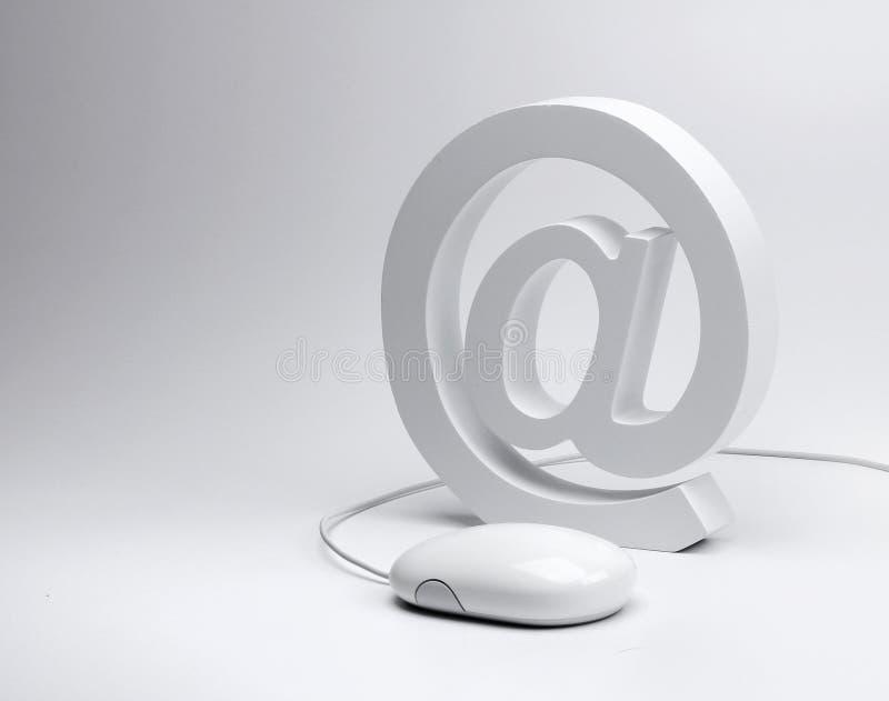 E-mail @ teken en computermuis royalty-vrije stock fotografie