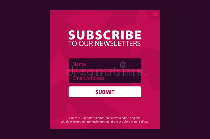 E-mail tekent, online bulletin, voorlegt knoop in De envelop en tekent knoop in UI UX-ontwerp Vector illustratie stock illustratie
