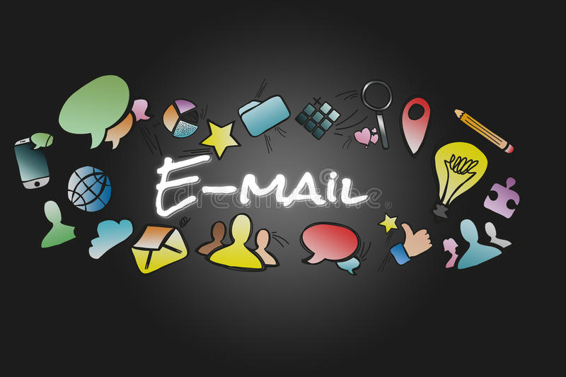 E-mail title isolated on a background and surounded by multimedia icons - Internet concept. View of a E-mail title isolated on a background and surounded by stock illustration