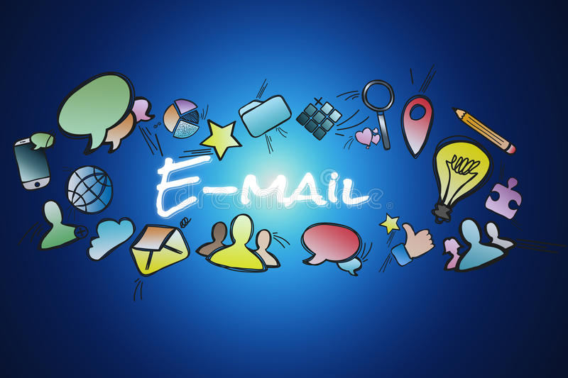 E-mail title isolated on a background and surounded by multimedia icons - Internet concept. View of a E-mail title isolated on a background and surounded by vector illustration