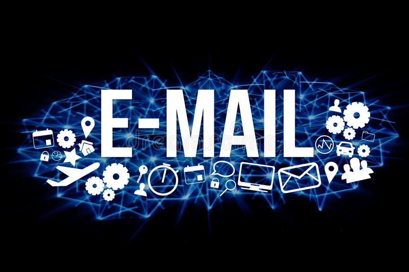 E-mail title isolated on a background and surounded by multimedia icons - Internet concept. View of a E-mail title isolated on a background and surounded by royalty free illustration