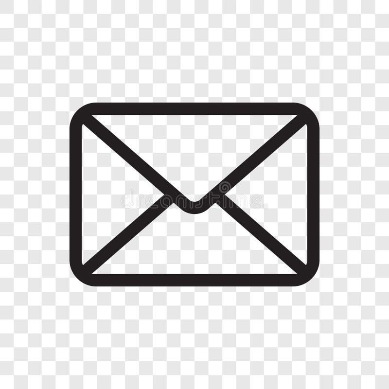 E-Mail-Umschlagikone Vector das Postmitteilungssymbol, das auf transparentem Hintergrund lokalisiert wird vektor abbildung