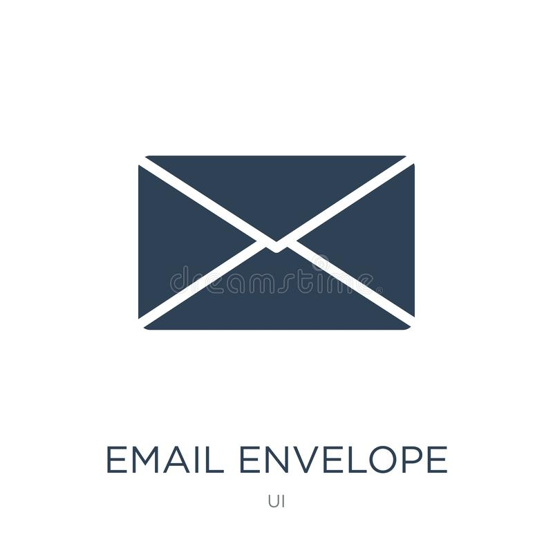 E-Mail-Umschlagknopfikone in der modischen Entwurfsart E-Mail-Umschlagknopfikone lokalisiert auf weißem Hintergrund E-Mail-Umschl stock abbildung