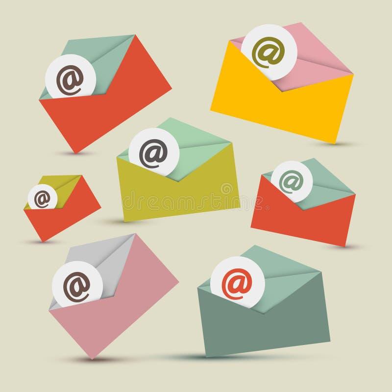 E-mail vector geplaatste pictogrammen stock illustratie