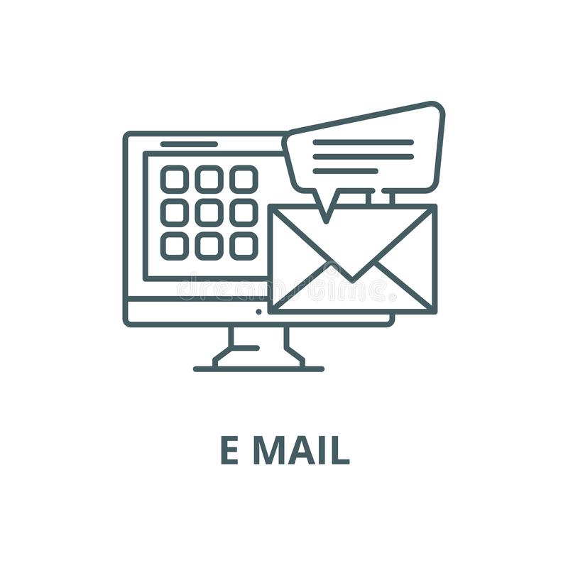E mail vector line icon, linear concept, outline sign, symbol. E mail vector line icon, outline concept, linear sign stock illustration
