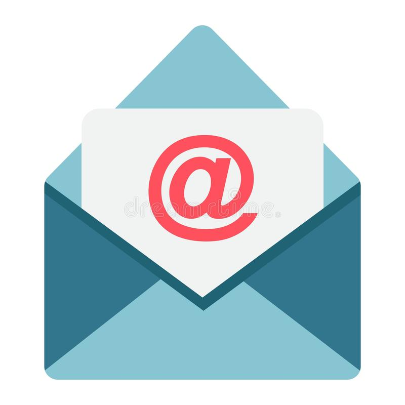 E-mail vlak pictogram, envelop en website vector illustratie
