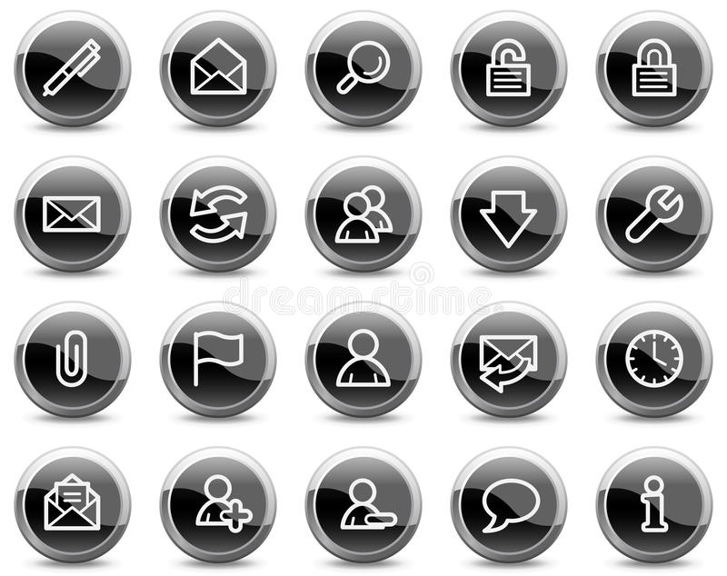 E-mail web icons, black glossy circle buttons stock illustration