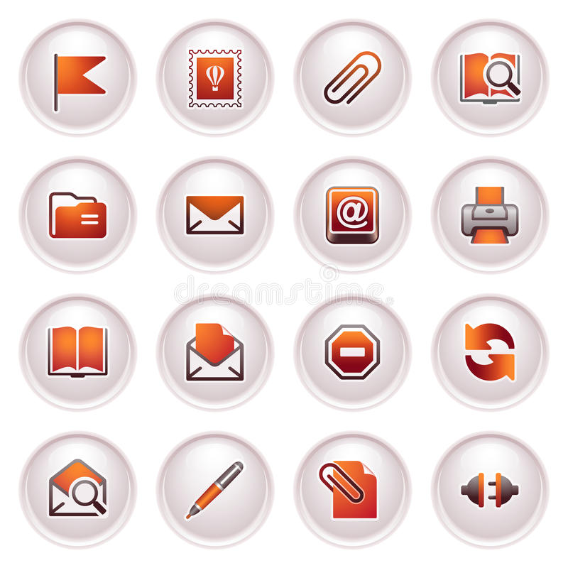 E-mail web icons. Black red series. vector illustration