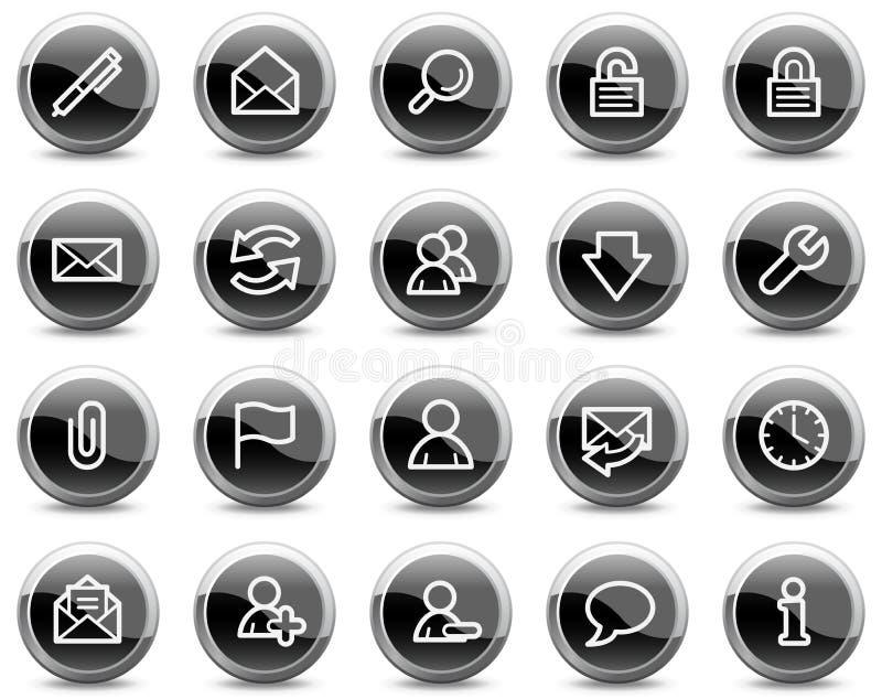 E-mail Webpictogrammen, zwarte glanzende cirkelknopen stock illustratie