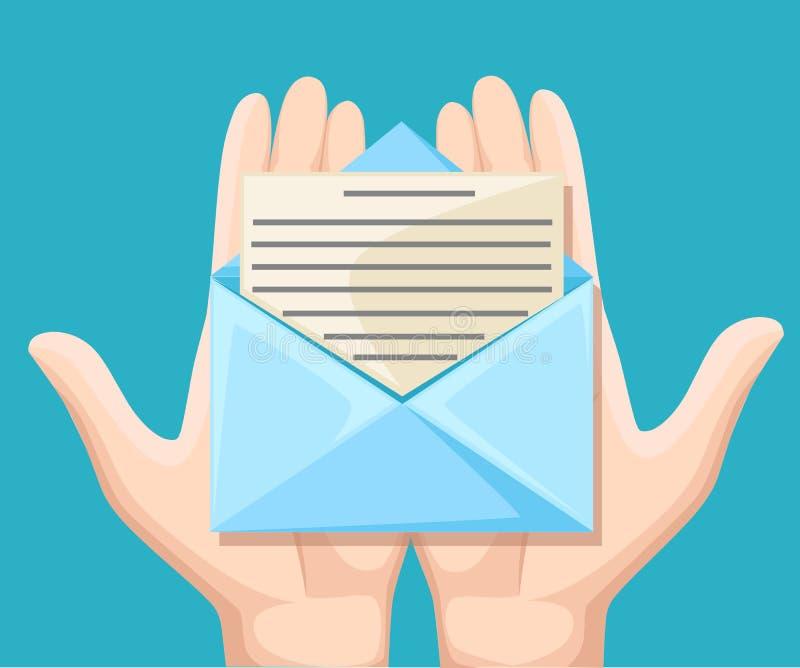 E-maila pojęcie Nowa, przybywająca wiadomość, sms Ręki mienia koperta, list Dostawa wiadomości, sms Poczta powiadomienie, se ilustracji