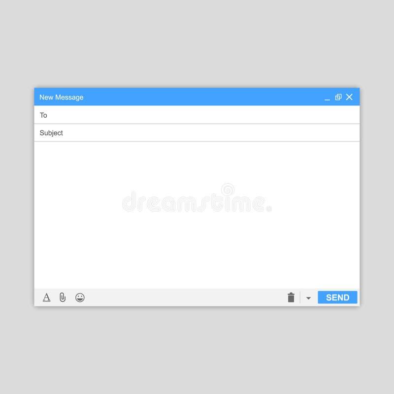 E-maila Pusty okno email, szablon E-mailowy pusty szablonu interneta poczta ramy interfejs dla poczta wiadomości ilustracji